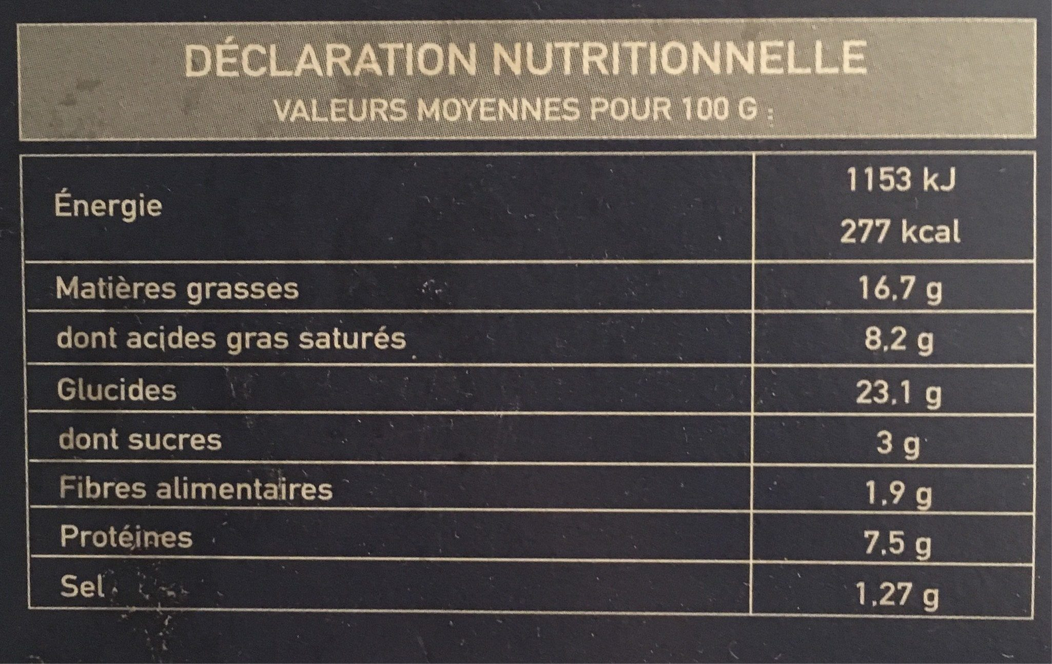 Paniers feuilletes canard confit - Informations nutritionnelles