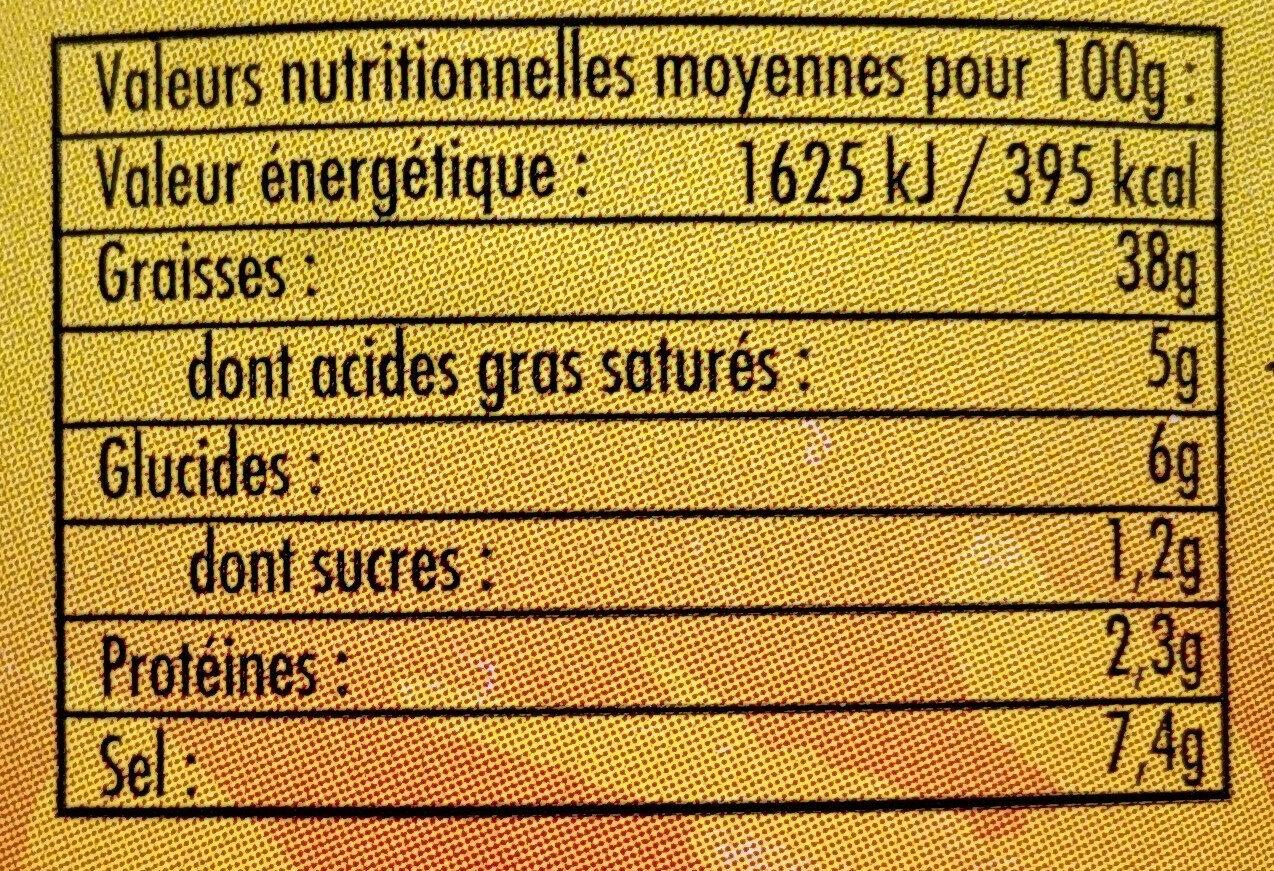 Olives noires naturelles - Informations nutritionnelles - fr