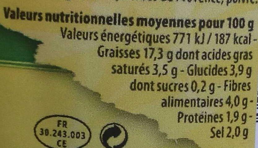 Tapenade verte - Informations nutritionnelles - fr