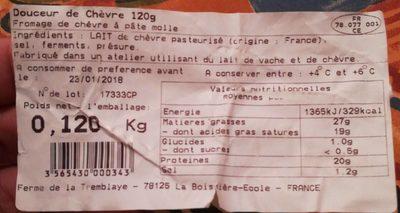Douceur de Chèvre (22% MG) - Nutrition facts