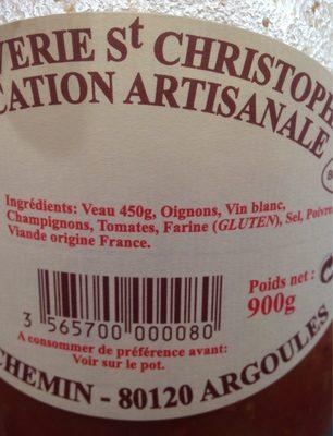 Veau Marengo - Ingrédients - fr