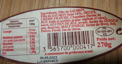 Terrine de saumon fume - Valori nutrizionali