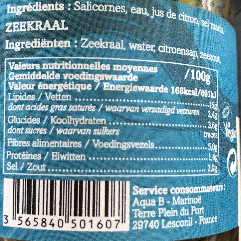 Salicornes Au Naturel (160 GR) - Informations nutritionnelles - fr