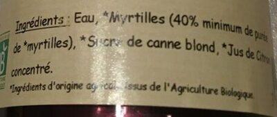 Myrtille Nectar - Ingredients - fr