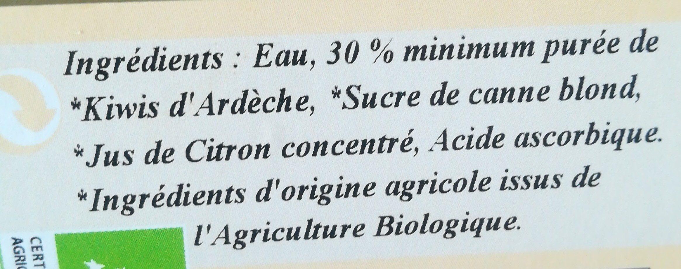 Nectar de kiwi d'Ardèche - Ingrédients