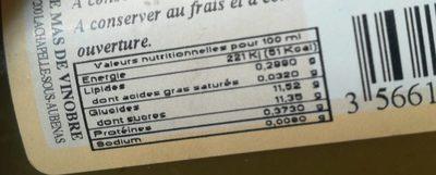 Nectar de kiwi d'Ardèche - Informations nutritionnelles