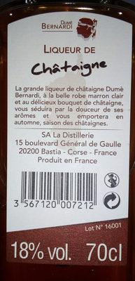 Liqueur de chataigne - Ingredients