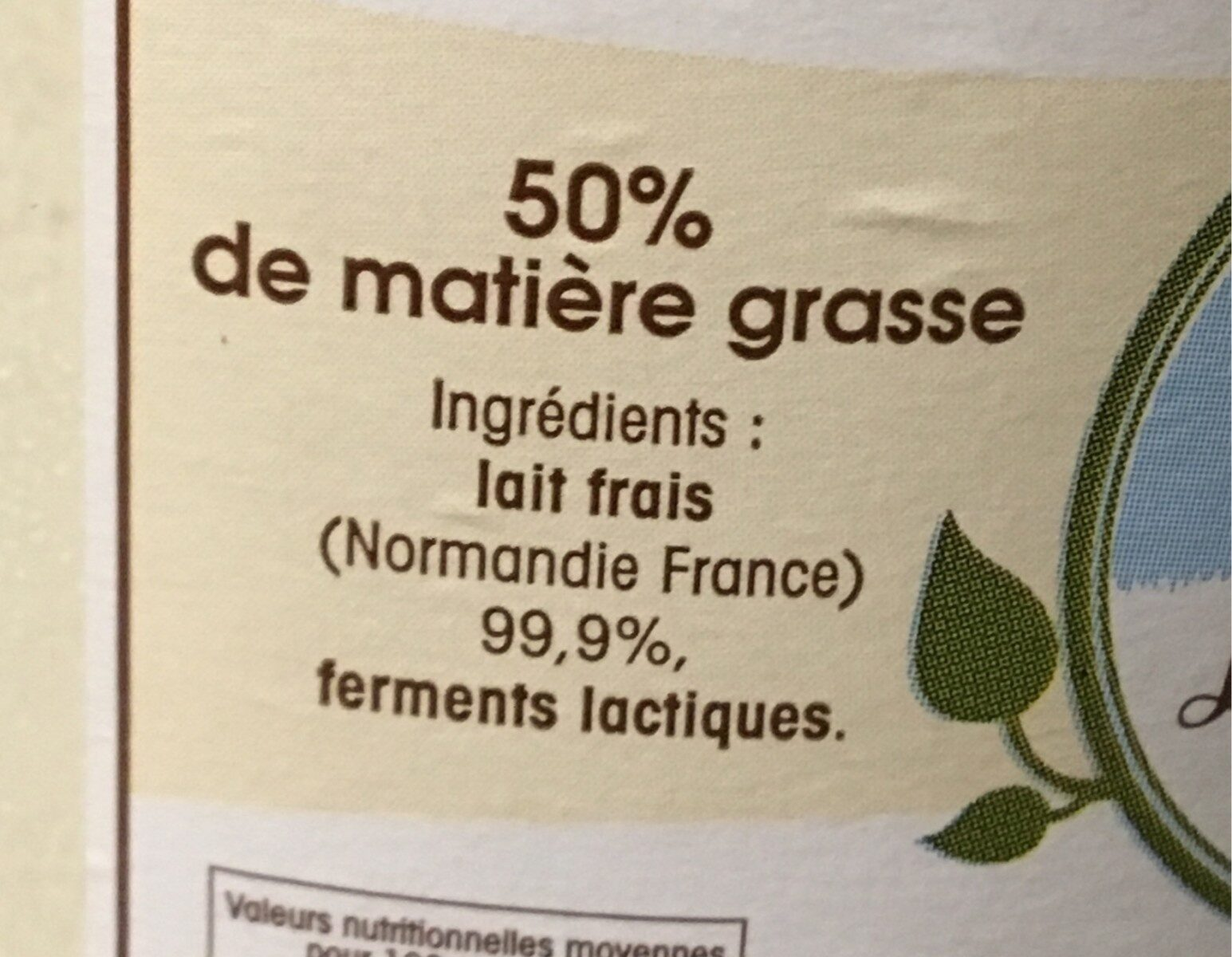 La crème crue Fermiére - Ingredients - fr