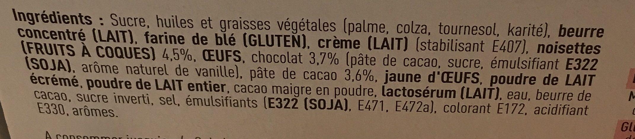 Tartelette chocolat noisette - Ingredients - fr