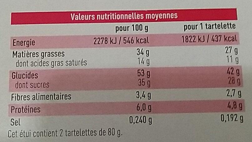 Tartelette chocolat noisette - Nutrition facts - fr
