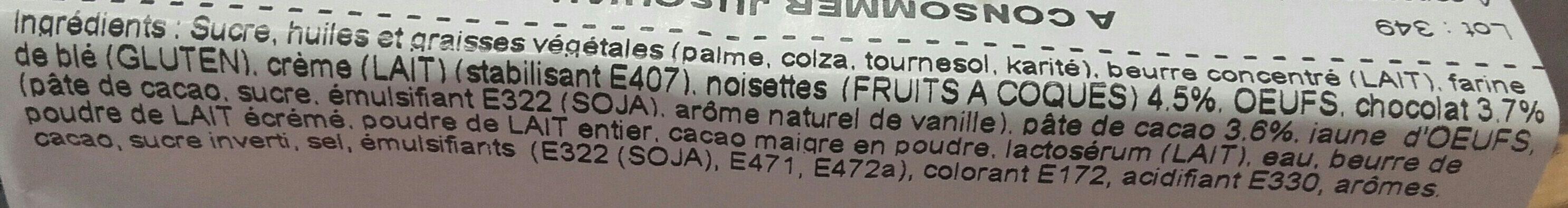 Tartelettes chocolat noisettes - Ingrédients - fr