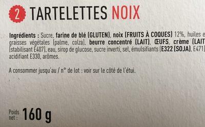 Tartellettes noix - Ingrédients - fr