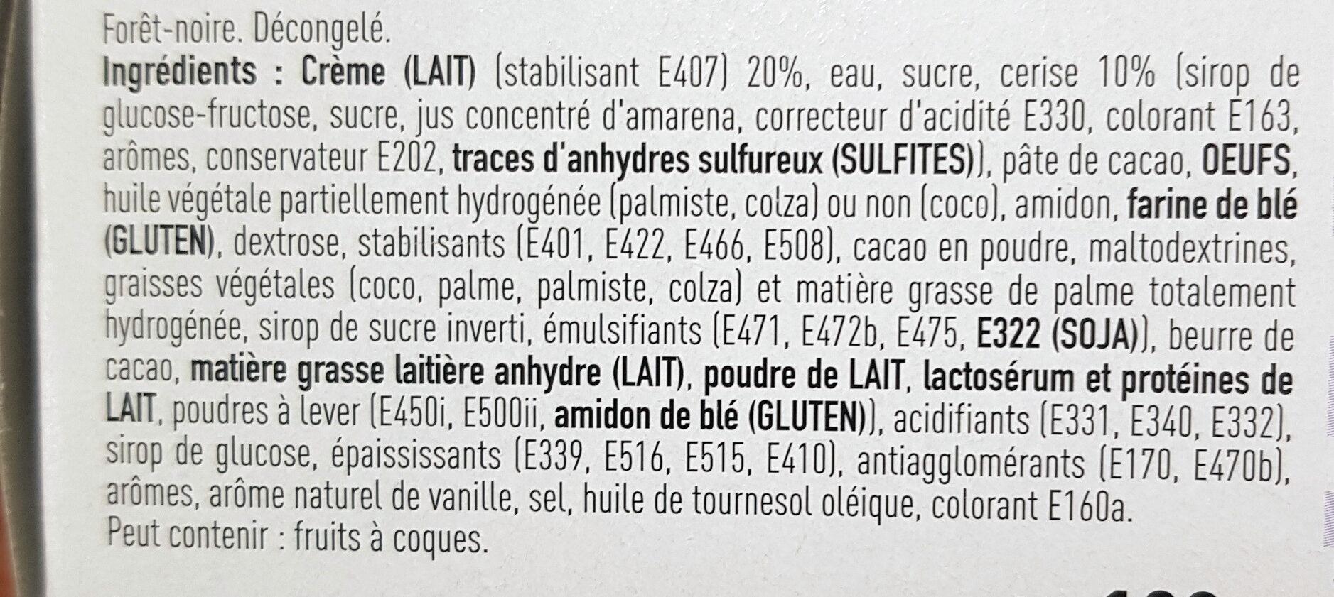 Foret noire Patiprestige x2 - Ingredients