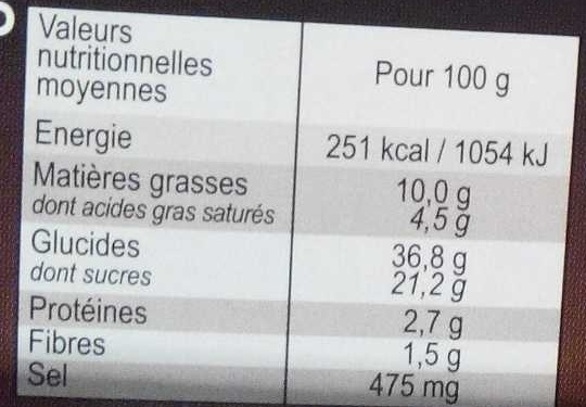 2 Millefeuilles - Nutrition facts - fr