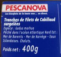 Tranches de filets de cabillaud - Ingrédients - fr