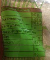 Sucre pure canne - Sik a bon kann - Informations nutritionnelles