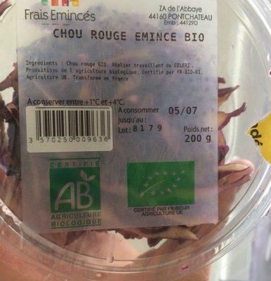 Chou rouge émincé bio Frais Emincés - Product