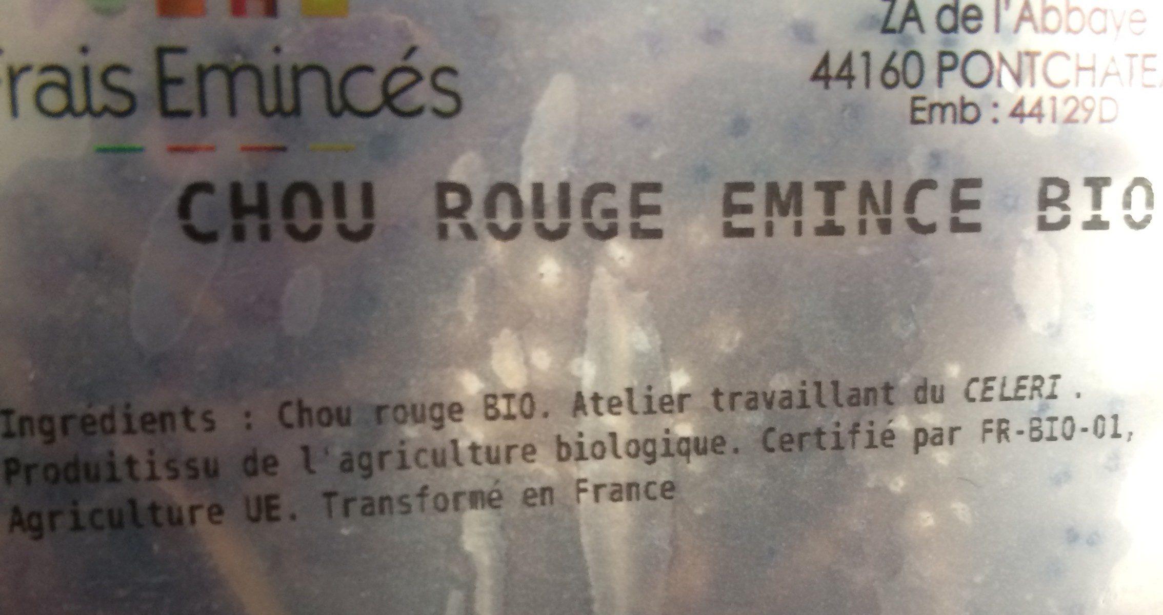 Chou rouge émincé bio Frais Emincés - Ingrediënten