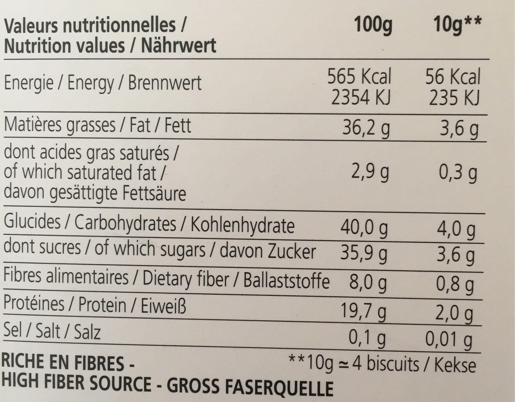 Biscuits Gourmets aux Amandes, Café & Noisette - Voedigswaarden