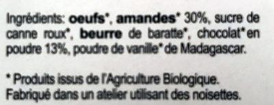 Gâteau gourmet aux amandes et chocolat - Ingrédients - fr