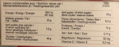 Gâteau gourmet aux amandes et chocolat - Informations nutritionnelles - fr