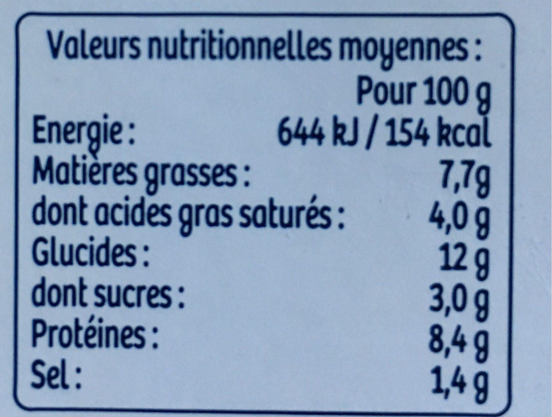 Les lasagnes du poissonniers - Nutrition facts - fr