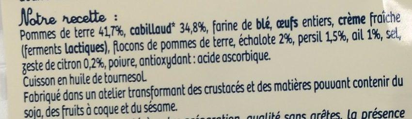 4 Croques Cabillaud - Ingrédients