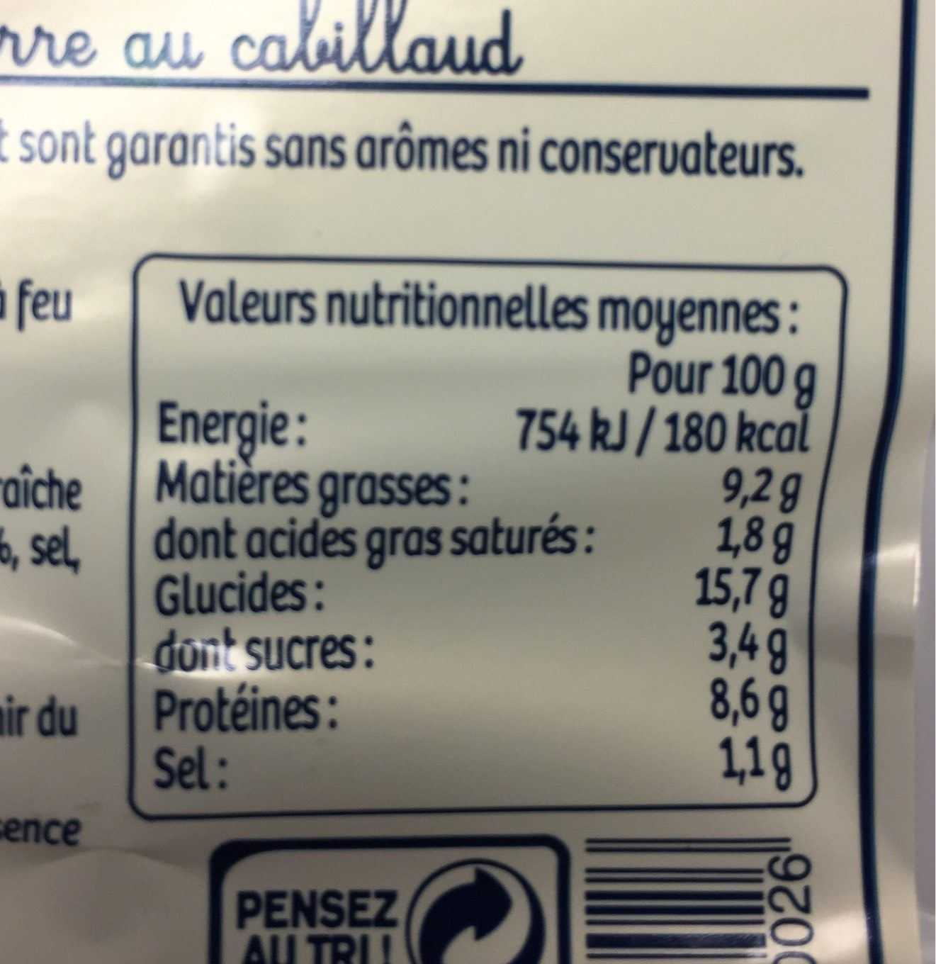 4 Croques Cabillaud - Informations nutritionnelles