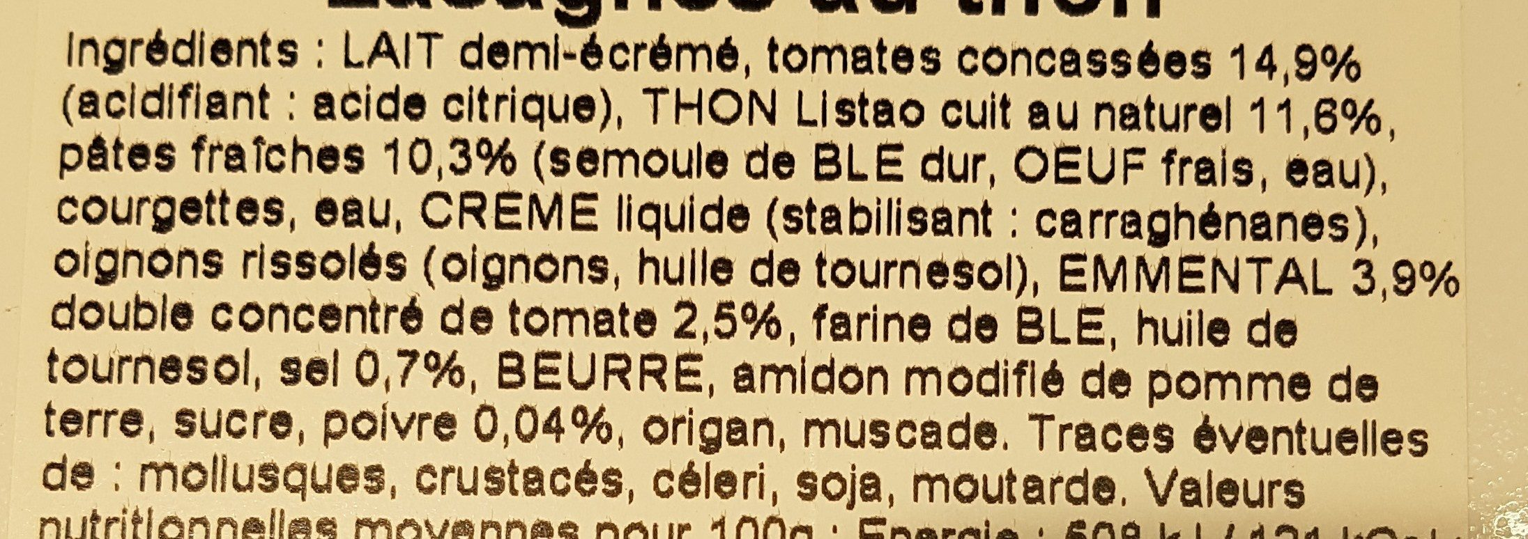 Les Lasagnes au Thon - Ingredients