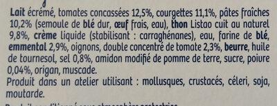 Lasagnes au thon - Ingrédients - fr