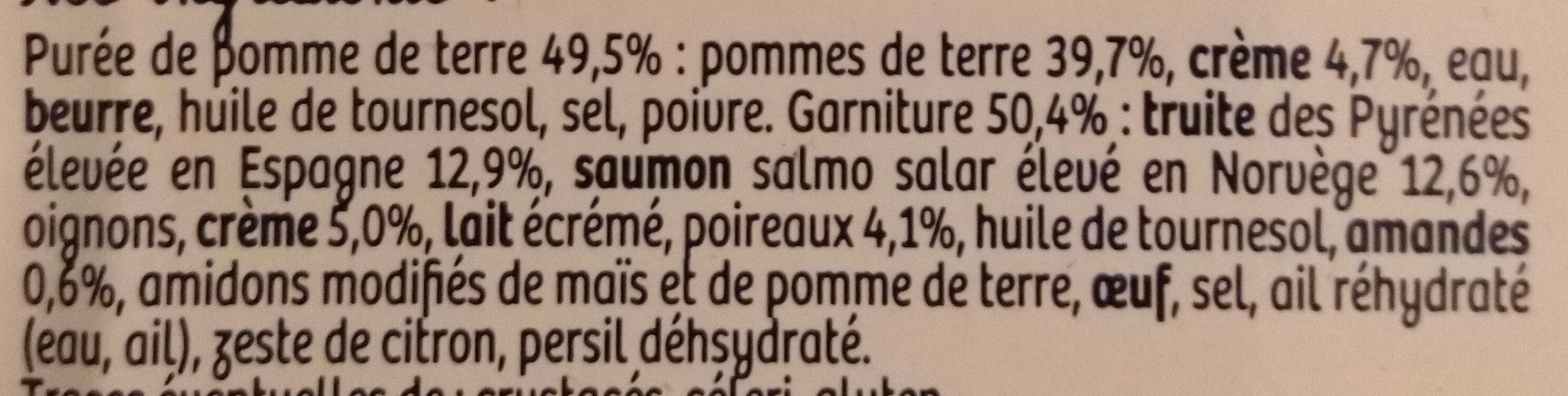 Parmentier à la truite des Pyrénéesp - Ingrediënten - fr