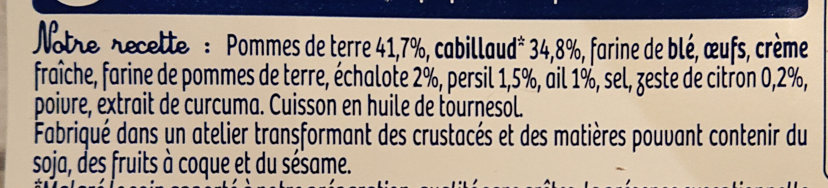 Croques cabillaud - Ingrediënten - fr