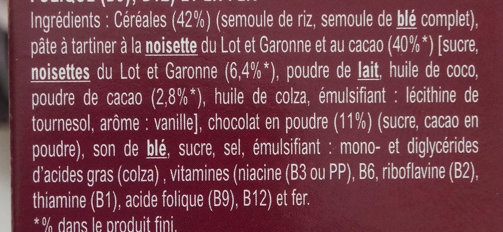 Céréales Croc' Tout Choc à la Pate à Tartiner Cacao - Ingredients - fr