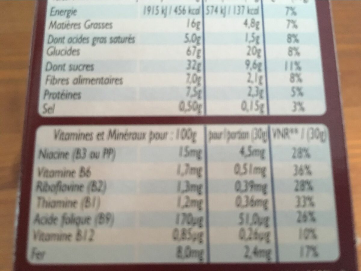 Céréales Croc' Tout Choc à la Pate à Tartiner Cacao - Nutrition facts - fr