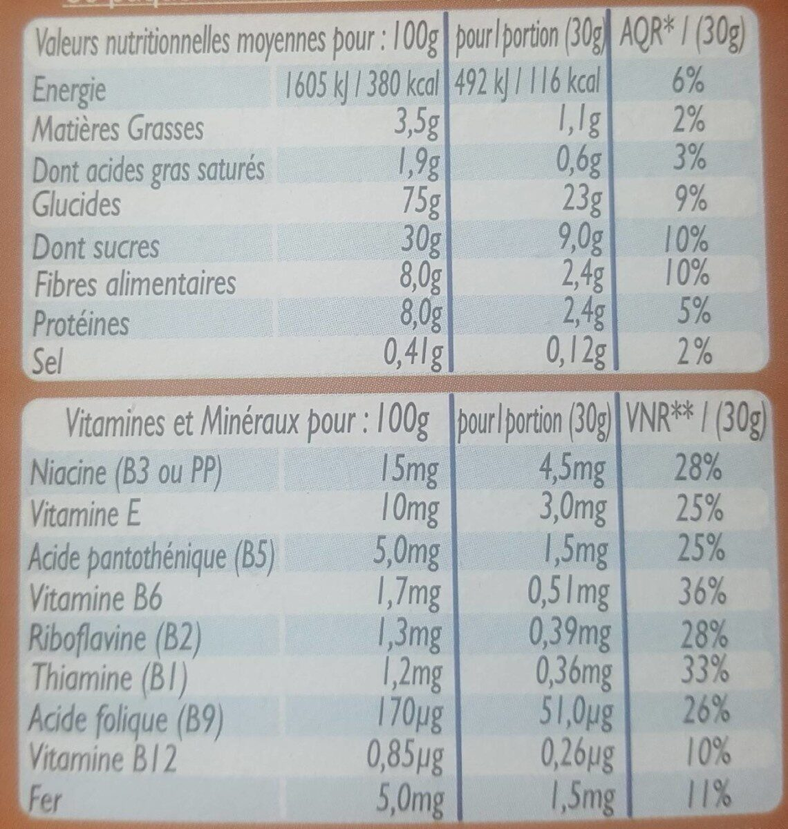 Céréales Croc cooki - Informations nutritionnelles - fr