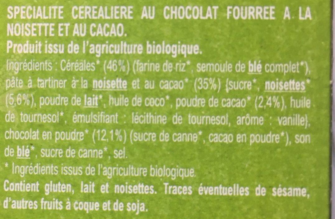 Céréales Croc' Tout Choc à la pâte à tartiner Bio - Ingredients - fr