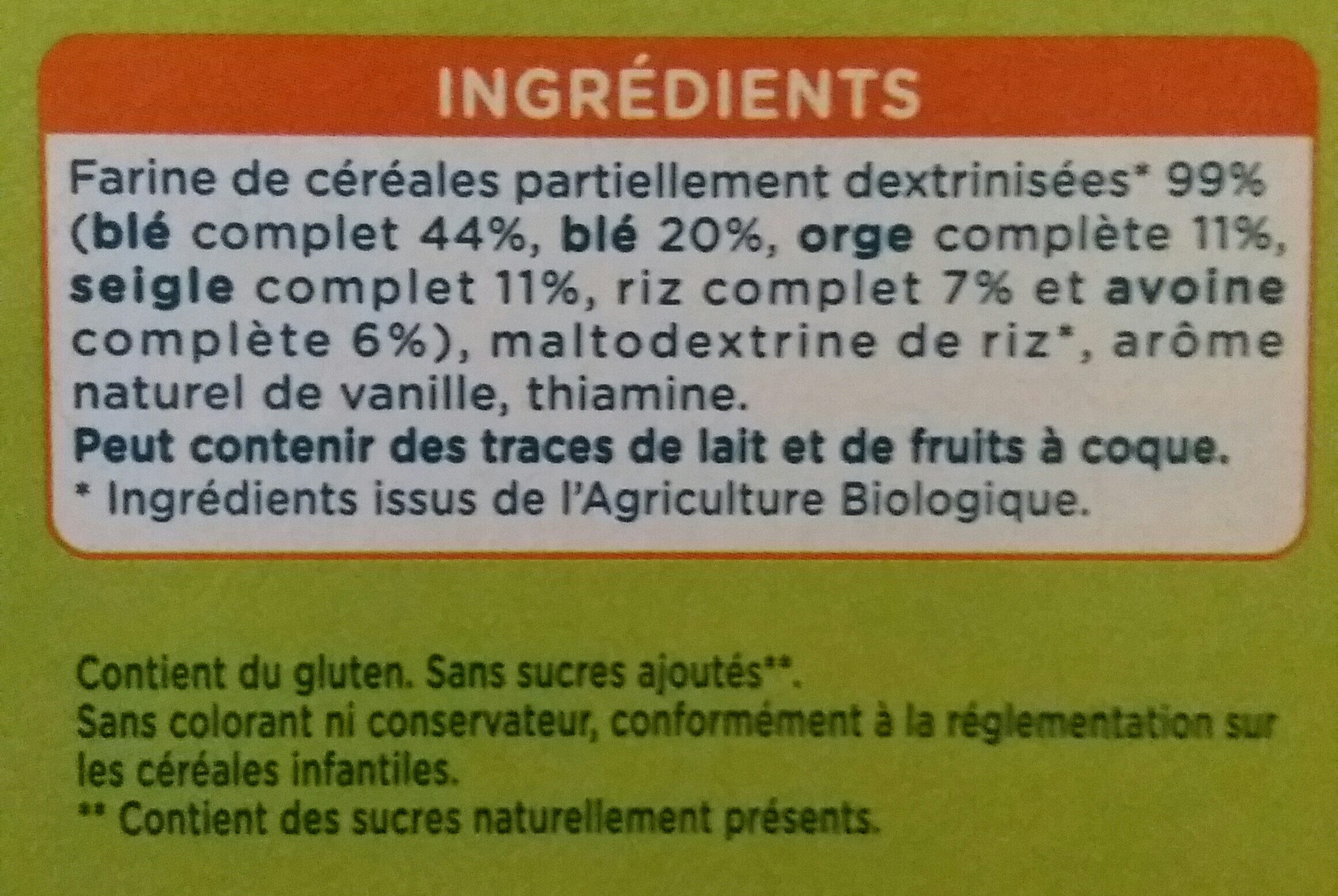 Modilac 5 Cereales Bio - Ingrediënten - fr