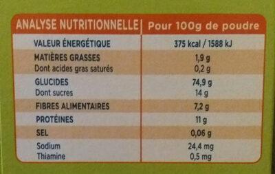 Modilac 5 Cereales Bio - Voedingswaarden - fr