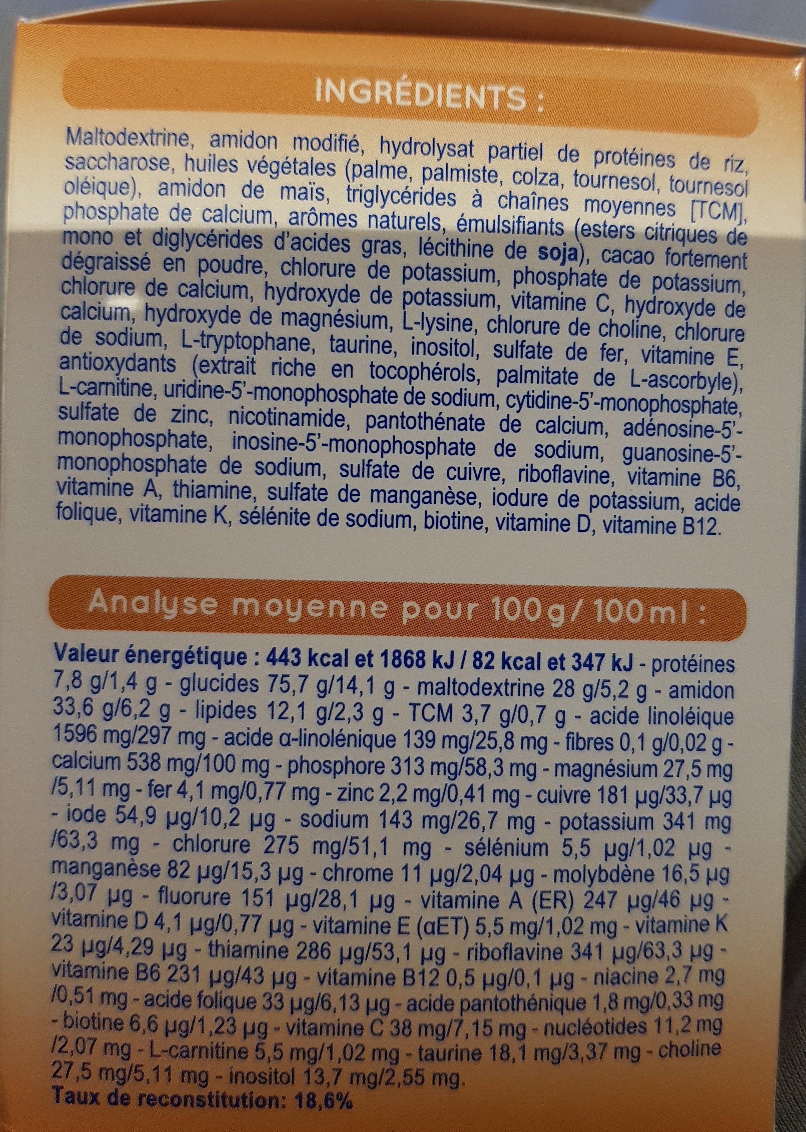Modilac Mon 1er Dessert Sans Lait Saveur Banane - 成分 - fr