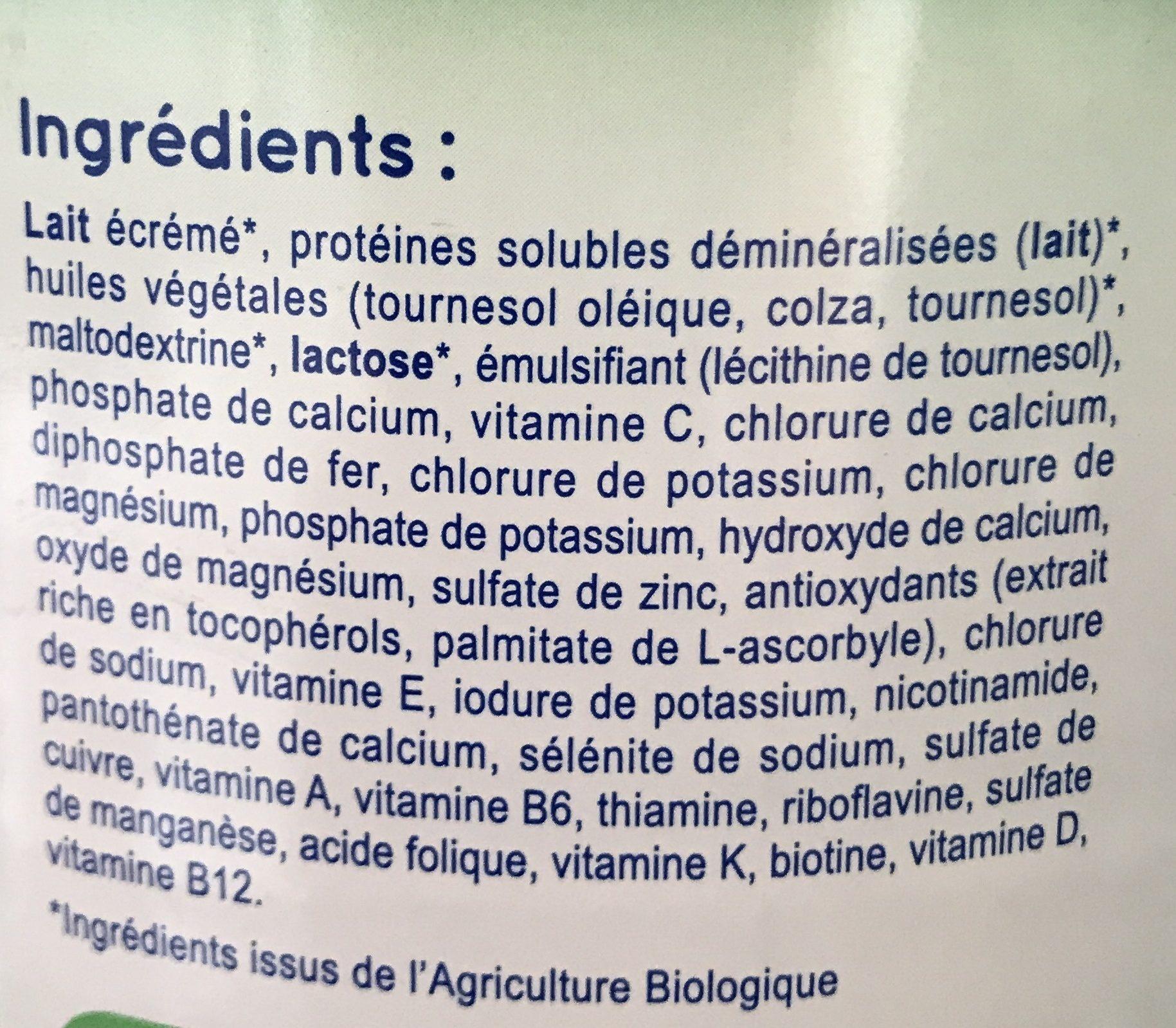 Modilac Bio 2 - Ingrédients - fr