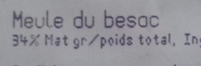 Meule du Besac (34 % MG) - Informations nutritionnelles - fr