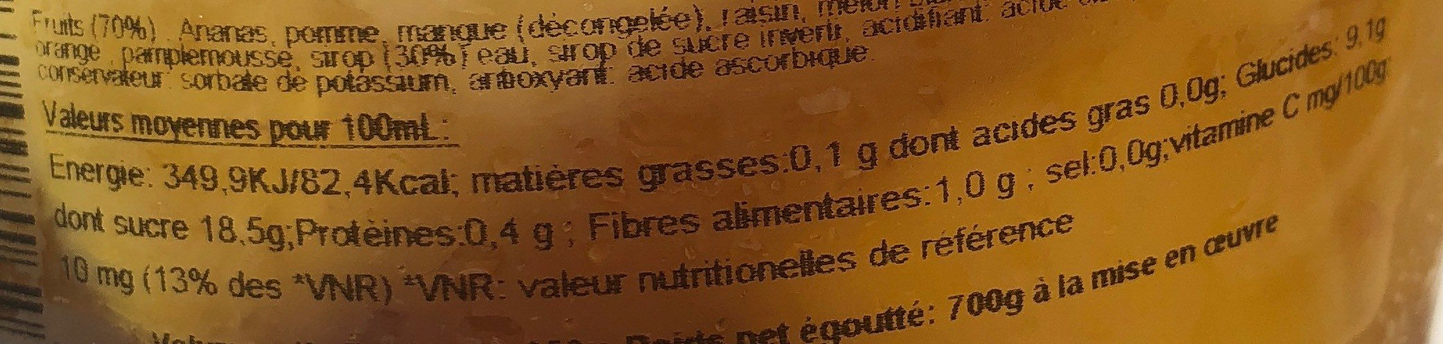 Salade de fruits - Informations nutritionnelles - fr