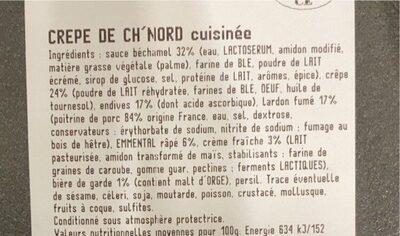 Crêpe de ch'Nord cuisinée - Informations nutritionnelles - fr