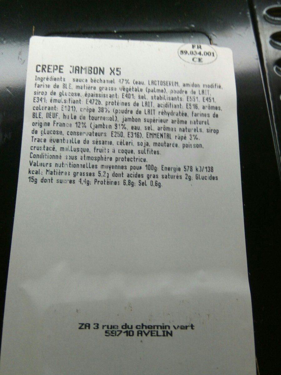 Crêpe Jambon X 5 - Ingredients - fr