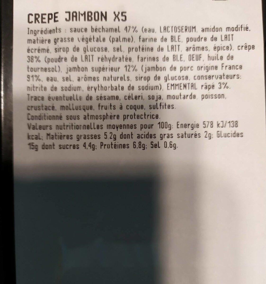 Crêpe Jambon X 5 - Informations nutritionnelles - fr