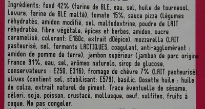 Pizza chèvre tomate - Ingredients