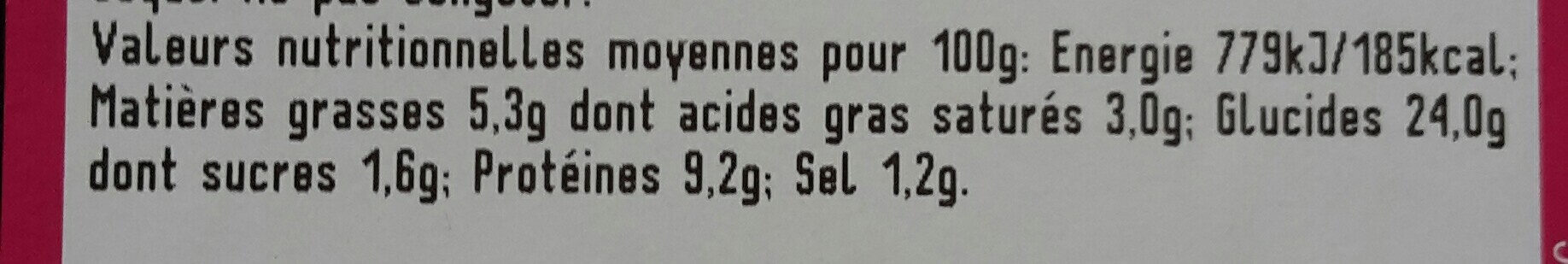 Pizza chèvre tomate - Nutrition facts