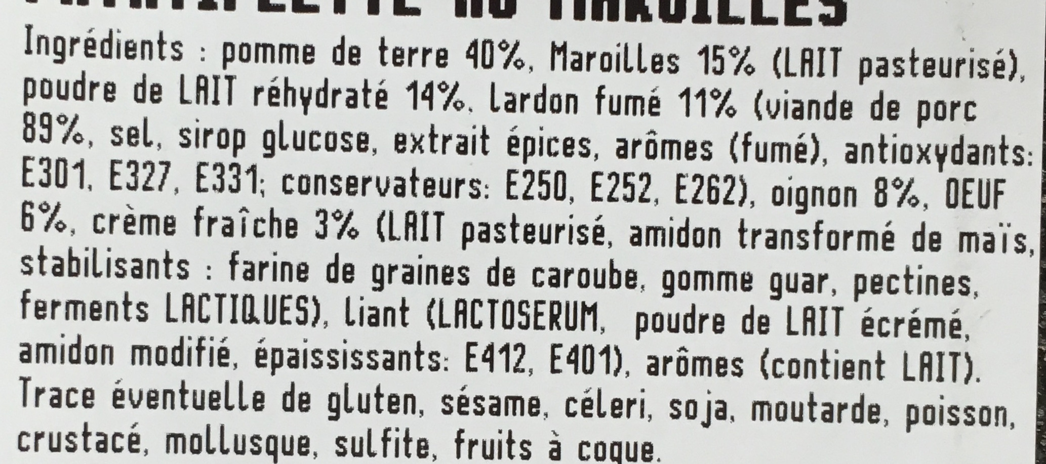 Patatiflette au Maroilles - Ingredients