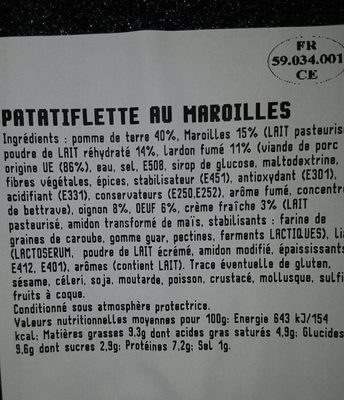 Patatiflette au Maroilles - Nutrition facts