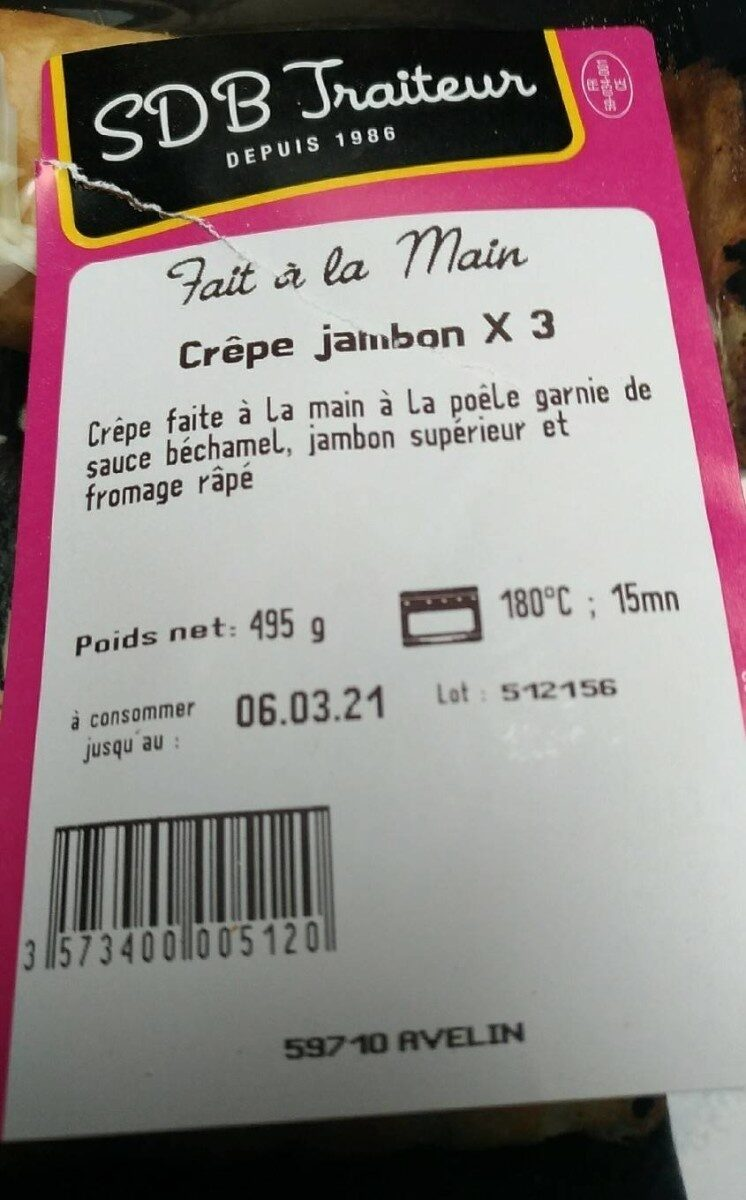 Crêpes jambon - Informations nutritionnelles - fr